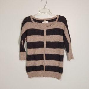 LOFT Stripe Rabbit Hair Scoop Neck Sweater